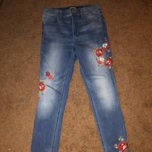 EXPRESS High-rise embroidered jeans